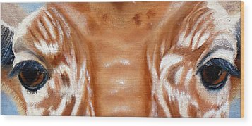 Whos Watching Who   Giraffe Wood Print by Darlene Green