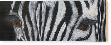 Whos Watching Who   Zebra Wood Print by Darlene Green