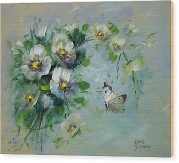 Whte Butterfly And Blossoms Wood Print by David Jansen