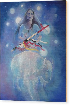 Whtie Buffalo Woman From The Pleiades Wood Print