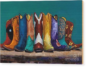 Why Real Men Want To Be Cowboys 2 Wood Print by Frances Marino