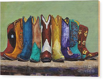 Wood Print featuring the painting Why Real Men Want To Be Cowboys by Frances Marino