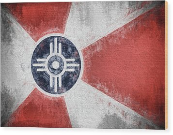 Wood Print featuring the digital art Wichita City Flag by JC Findley