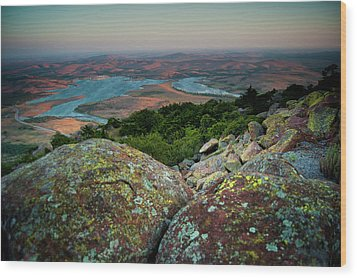 Wichita Mountains In Lawton Wood Print by Iris Greenwell