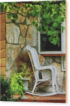 Wicker Rocking Chair On Porch Wood Print by Susan Savad