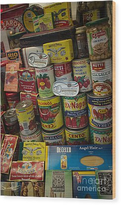 Wood Print featuring the photograph Wide Variety Of Italian Goods On Display In Little Italy by Jason Rosette