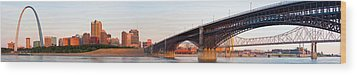 Wide View Of St Louis And Eads Bridge Wood Print by Semmick Photo