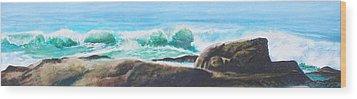 Widescreen Wave Wood Print by Ken Meyer