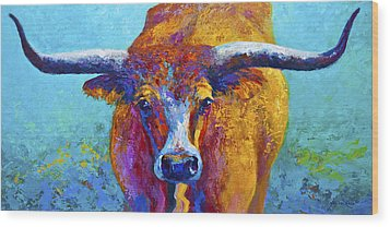 Widespread - Texas Longhorn Wood Print by Marion Rose
