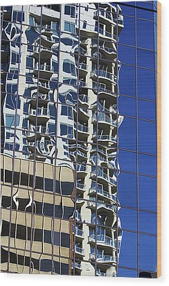 Wood Print featuring the photograph Wiggly Balconies by Phyllis Denton