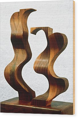 Wiggly Women Wood Print by Lonnie Tapia