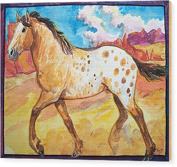 Wood Print featuring the painting Wild Appaloosa Horse by Jenn Cunningham