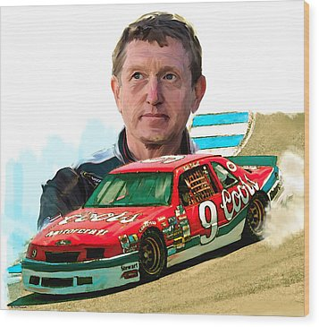 Wood Print featuring the painting Wild Bill  Bill Elliott  by Iconic Images Art Gallery David Pucciarelli