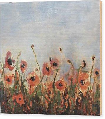 Wild Corn Poppies Underpainting Wood Print
