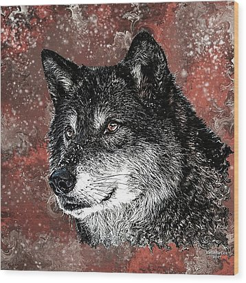 Wild Dark Wolf Wood Print