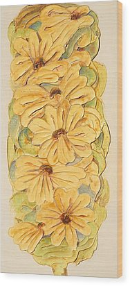 Wild Flower Abstract Wood Print by Theresa Marie Johnson