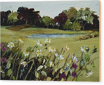 Wood Print featuring the painting Wild Flower Landscape by Diane Ursin