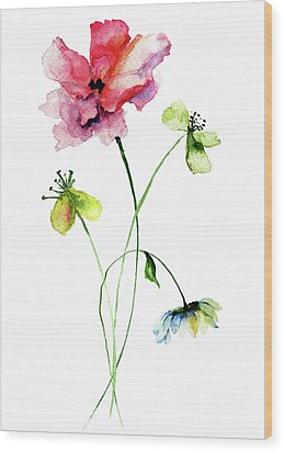 Wild Flowers Watercolor Illustration Wood Print