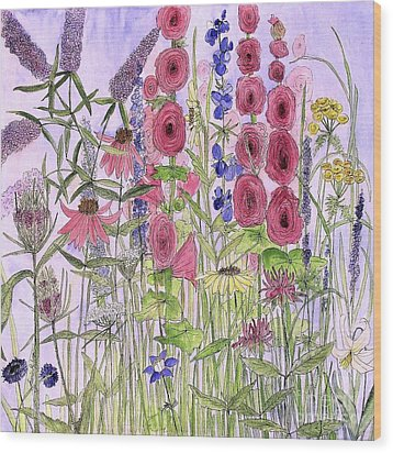 Wood Print featuring the painting Wild Garden Flowers by Laurie Rohner