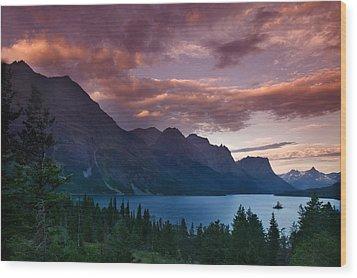 Wild Goose Island Glacier National Park Wood Print by Rich Franco