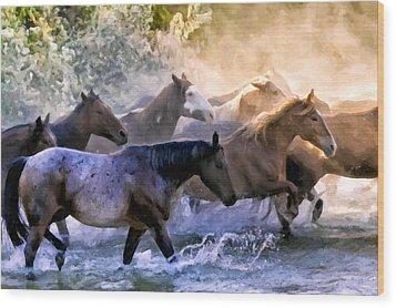 Wild Herd Wood Print by Janet Fikar