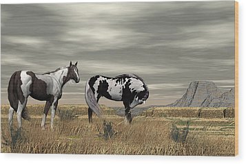 Wild Horses Wood Print by Walter Colvin