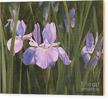 Wood Print featuring the painting Wild Iris by Laurie Rohner