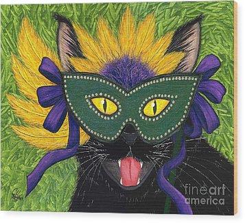 Wild Mardi Gras Cat Wood Print