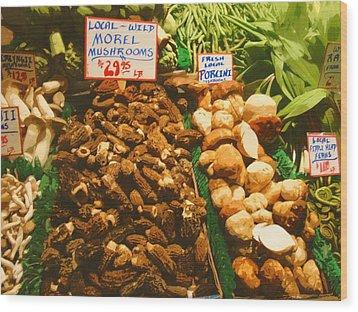 Wild Morell Mushrooms Wood Print by Lydia L Kramer