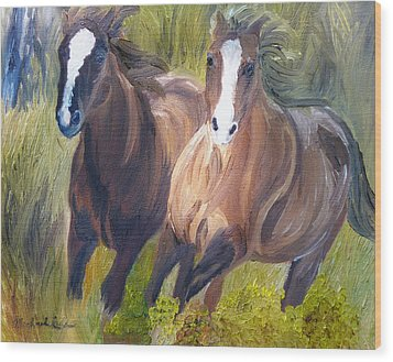 Wild Mustangs Wood Print by Michael Lee