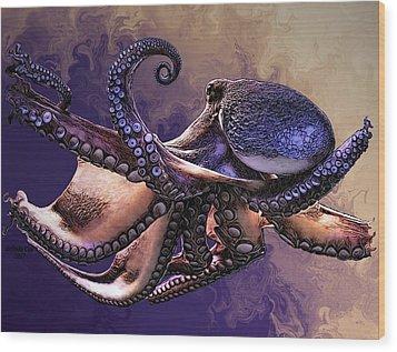Wild Octopus Wood Print