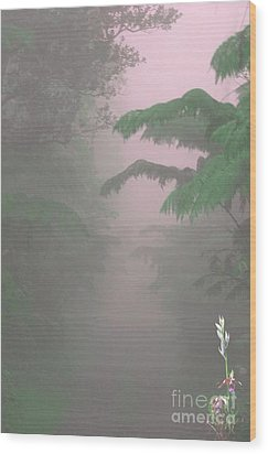 Wild Orchid In Volcano Mist Wood Print by Uldra Patty Johnson