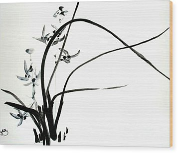 Wood Print featuring the painting Wild Orchid by Sibby S