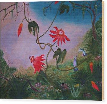 Wild Orchids Wood Print by Alanna Hug-McAnnally