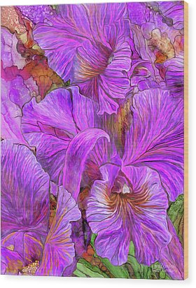 Wood Print featuring the mixed media Wild Orchids by Carol Cavalaris