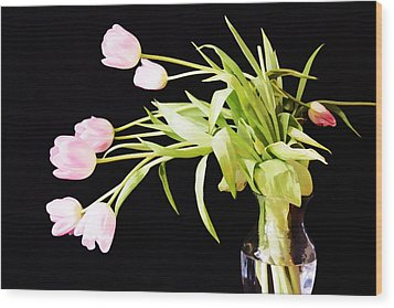 Wild Pink Tulips Wood Print