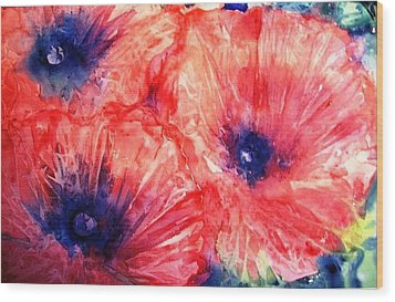 Wood Print featuring the painting Wild Poppies by Trudi Doyle