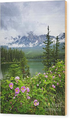 Wild Roses And Mountain Lake In Jasper National Park Wood Print by Elena Elisseeva