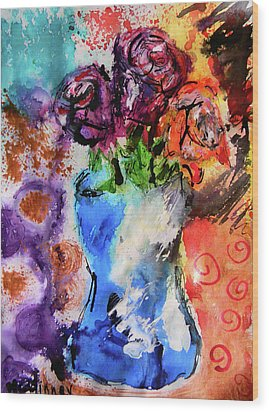 Wood Print featuring the mixed media Wild Roses by Lisa McKinney
