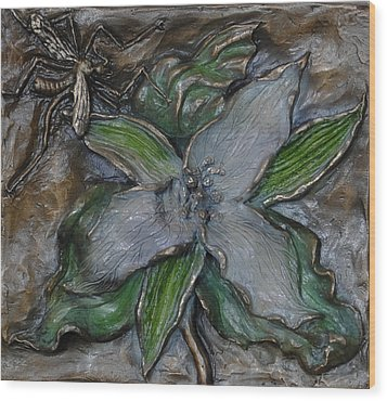 Wild Trillium And Cranefly  Wood Print by Dawn Senior-Trask