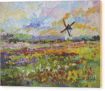 Wood Print featuring the painting Wild Tulips Dutch Country Side by Ginette Callaway