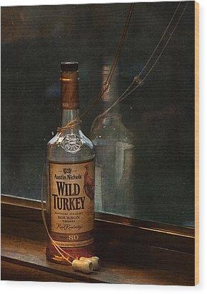 Wild Turkey In Window Wood Print by Brenda Bryant