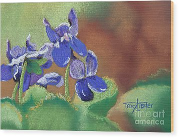Wild Violets Wood Print by Tracy L Teeter