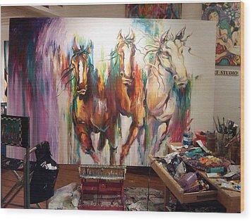 Wild Wild Horses Wood Print by Heather Roddy