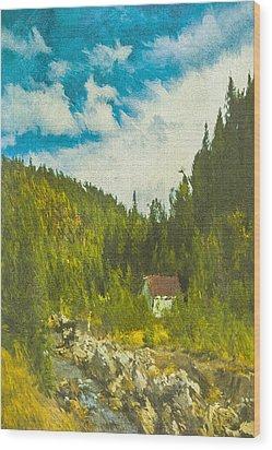 Wood Print featuring the digital art Wilderness Cabin by Dale Stillman