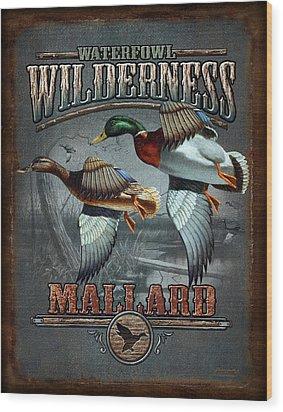 Wilderness Mallard Wood Print by JQ Licensing