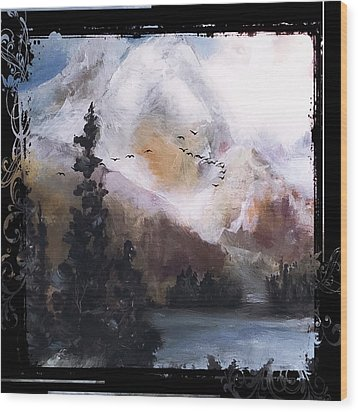 Wilderness Mountain Landscape Wood Print by Michele Carter