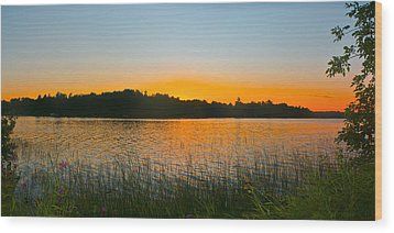 Wilderness Point Sunset Panorama Wood Print by Gary Eason