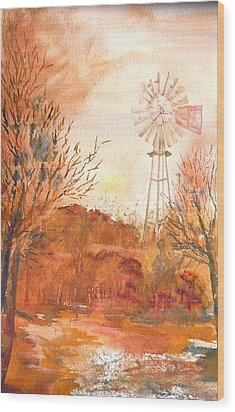 Wood Print featuring the painting Wilderness Windmill by Sharon Mick
