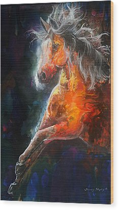 Wood Print featuring the painting Wildfire Fire Horse by Sherry Shipley
